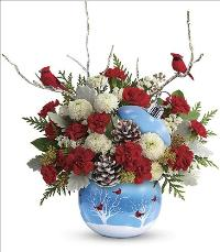 Cardinals In The Snow Ornament by McAdams Floral, your Victoria, Texas (TX) Florist