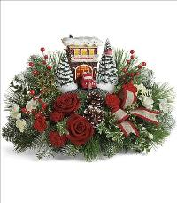 Thomas Kinkades Festive Fire Station Bouquet Standard by McAdams Floral, your Victoria, Texas (TX) Florist