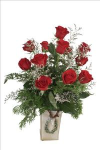 A Christmas Holiday Dozen Red Roses by McAdams Floral, your Victoria, Texas (TX) Florist