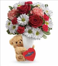 FTF Send a Hug Bear Your Heart Bouquet by McAdams Floral, your Victoria, Texas (TX) Florist