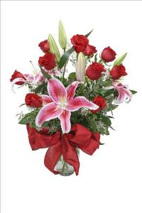 McAdams Signature Roses with Oriental Lilies Valentines by McAdams Floral, your Victoria, Texas (TX) Florist