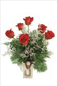 A Christmas Holiday Half Dozen Red Roses Roses by McAdams Floral, your Victoria, Texas (TX) Florist