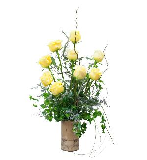 Texas Yellow Roses in Natural Ceramic Container by McAdams Floral, your Victoria, Texas (TX) Florist