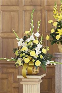 White, Yellow & Green Basket by McAdams Floral, your Victoria, Texas (TX) Florist