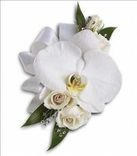 White Orchid and Rose Corsage by McAdams Floral, your Victoria, Texas (TX) Florist