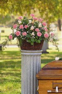Basket with Pink Flowers by McAdams Floral, your Victoria, Texas (TX) Florist