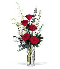 Red Roses & Dendrobiums by McAdams Floral, your Victoria, Texas (TX) Florist