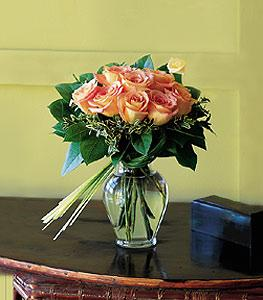 Nine Peach Roses by McAdams Floral, your Victoria, Texas (TX) Florist