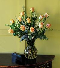 Dozen Pale Peach Roses by McAdams Floral, your Victoria, Texas (TX) Florist