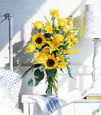 Yellow Roses & Sunflowers by McAdams Floral, your Victoria, Texas (TX) Florist