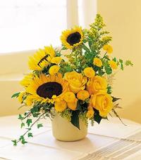 Sunflowers in a Cachepot by McAdams Floral, your Victoria, Texas (TX) Florist
