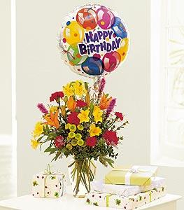 Mixed Bouquet with a Balloon by McAdams Floral, your Victoria, Texas (TX) Florist
