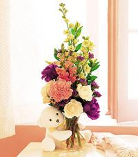 Bear Hug with Flowers by McAdams Floral, your Victoria, Texas (TX) Florist