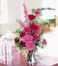 Pink & Burgundy Ginger Jar by McAdams Floral, your Victoria, Texas (TX) Florist