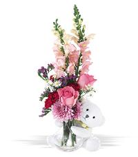 Bear Hug With Pink Roses by McAdams Floral, your Victoria, Texas (TX) Florist