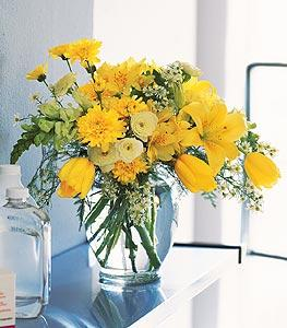 Ginger Jar with Bright Yellows by McAdams Floral, your Victoria, Texas (TX) Florist