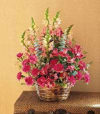 Basket with Mixed Pinks by McAdams Floral, your Victoria, Texas (TX) Florist