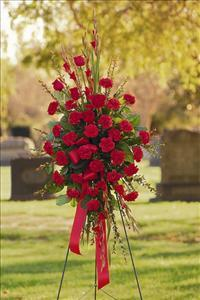All-Red Standing Spray by McAdams Floral, your Victoria, Texas (TX) Florist
