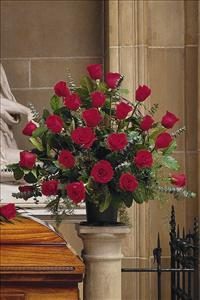 Basket with 24 Red Roses by McAdams Floral, your Victoria, Texas (TX) Florist