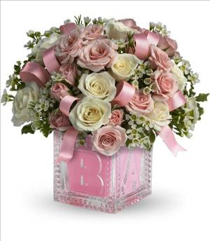 Baby's First Block - Pink by McAdams Floral, your Victoria, Texas (TX) Florist