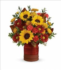 Sunshine Crock Bouquet by McAdams Floral, your Victoria, Texas (TX) Florist