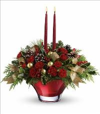 Holiday Flair Centerpiece Christmas by McAdams Floral, your Victoria, Texas (TX) Florist