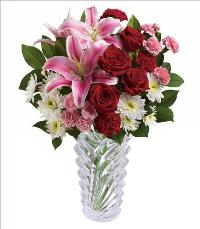 Romantic Waterfall Crystal Vase Bouquet by McAdams Floral, your Victoria, Texas (TX) Florist
