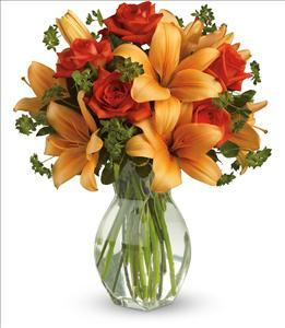 Fiery Lily and Rose by McAdams Floral, your Victoria, Texas (TX) Florist