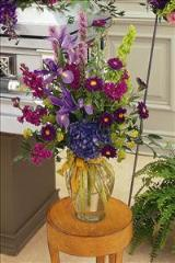 Blues & Purples in Glass Vase by McAdams Floral, your Victoria, Texas (TX) Florist