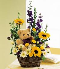 Flowers with a Plush Bear by McAdams Floral, your Victoria, Texas (TX) Florist