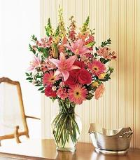 Mixed Pinks in Clear Glass by McAdams Floral, your Victoria, Texas (TX) Florist
