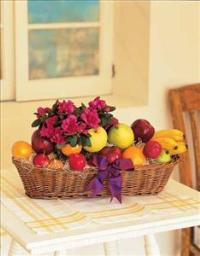Plant and Fruit Basket by McAdams Floral, your Victoria, Texas (TX) Florist